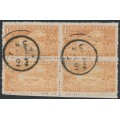 NEW ZEALAND - 1900 1½d pale chestnut NZ in the South African War, block of 4, used – SG # 275c