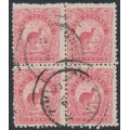 NEW ZEALAND - 1900 6d rose-red Kiwi, no watermark, perf. 11:11, block of 4, used – SG # 265c