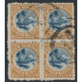 NEW ZEALAND - 1899 4d indigo/brown Taupo & Ruapehu, no watermark, perf. 11:11, block of 4, used – SG # 262
