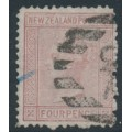 NEW ZEALAND - 1874 4d maroon QV (First Sideface), NZ star watermark, perf. 12½, white paper, used – SG # 155