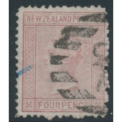 NEW ZEALAND - 1874 4d maroon QV (1st Sideface), NZ star watermark, perf. 12½, used – SG # 155