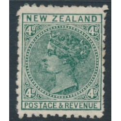 NEW ZEALAND - 1897 4d bluish green QV (2nd Sideface), NZ star watermark (7mm), perf. 11:11, MH – SG # 241a