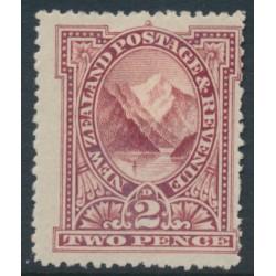 NEW ZEALAND - 1898 2d rosy lake Pembroke Peak, perf. 15:15, no watermark, MH – SG # 248b