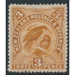 NEW ZEALAND - 1898 3d yellow-brown Huias, perf. 15:15, no watermark, MH – SG # 251