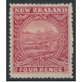 NEW ZEALAND - 1898 4d dull rose White Terrace, perf. 15:15, no watermark, MH – SG # 252b