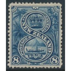 NEW ZEALAND - 1898 8d indigo Maori War Canoe, perf. 15:15, no watermark, MH – SG # 255