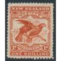 NEW ZEALAND - 1898 1/- vermilion Kea & Kaka, perf. 15:15, no watermark, MH – SG # 257