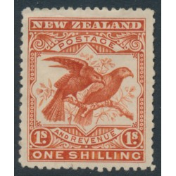 NEW ZEALAND - 1898 1/- vermilion Kea & Kaka, perf. 15:15, no watermark, MH – SG # 257