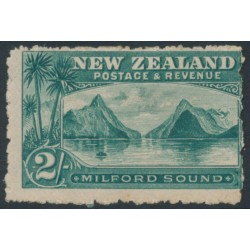 NEW ZEALAND - 1899 2/- blue-green Milford Sound, perf. 11:11, no watermark, MH – SG # 269