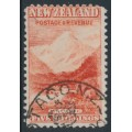 NEW ZEALAND - 1899 5/- vermilion Mount Cook, perf. 11:11, no watermark, used – SG # 270