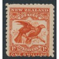 NEW ZEALAND - 1900 1/- dull orange-red Kea & Kaka, perf. 11:11, no watermark, MH – SG # 268a