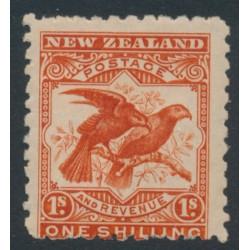 NEW ZEALAND - 1900 1/- dull orange-red Kea & Kaka, perf. 11:11, no watermark, MH – SG # 268a