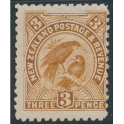 NEW ZEALAND - 1900 3d yellow-brown Huias, perf. 11:11, no watermark, MH – SG # 261