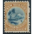 NEW ZEALAND - 1899 4d indigo/brown Lake Taupo, perf. 11:11, no watermark, MH – SG # 262