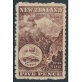 NEW ZEALAND - 1899 5d purple-brown Otira Gorge, perf. 11:11, no watermark, MH – SG # 263