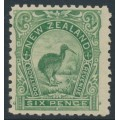 NEW ZEALAND - 1899 6d yellow-green Kiwi, perf. 11:11, no watermark, MH – SG # 264a
