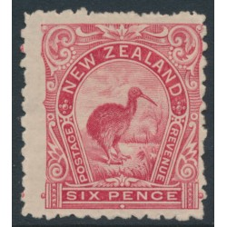 NEW ZEALAND - 1900 6d rose-red Kiwi, perf. 11:11, no watermark, MH – SG # 265c