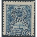 NEW ZEALAND - 1899 8d indigo Maori War Canoe, perf. 11:11, no watermark, MH – SG # 266