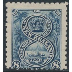 NEW ZEALAND - 1899 8d indigo Maori War Canoe, perf. 11:11, no watermark, MH – SG # 266