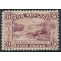 NEW ZEALAND - 1899 9d rosy purple Pink Terrace, perf. 11:11, no watermark, MH – SG # 267a