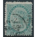 NEW ZEALAND - 1874 1/- green QV (1st Sideface), NZ star watermark, perf. 12½, white paper, used – SG # 157