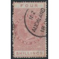 NEW ZEALAND - 1888 4/- brown-rose QV Stamp Duty, perf. 12½:12½, NZ star watermark (7mm), used – SG # F37