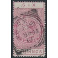 NEW ZEALAND - 1888 6/- rose QV Stamp Duty, perf. 12½:12½, NZ star watermark (7mm), used – SG # F39