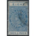 NEW ZEALAND - 1890 8/- deep blue QV Stamp Duty, perf. 12½:12½, NZ star watermark (4mm), used – SG # F52