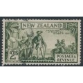 NEW ZEALAND - 1935 2/- olive-green Captain Cook, perf. 13½:14, NZ star watermark (single), used – SG # 568c
