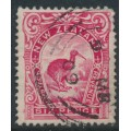 NEW ZEALAND - 1908 6d carmine-pink Kiwi, perf. 14:15, NZ star watermark (single), used – SG # 384