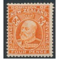 NEW ZEALAND - 1909 4d orange-red King Edward VII definitive, perf. 14:14½, MH – SG # 390