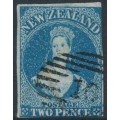 NEW ZEALAND - 1862 2d deep blue QV Chalon, imperforate, large star watermark, used – SG # 36