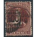 NEW ZEALAND - 1862 6d red-brown QV Chalon, perf. 13:13, large star watermark, used – SG # 77