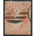 NEW ZEALAND - 1866 1d pale orange-vermilion QV Chalon, perf. 12½:12½, large star watermark, used – SG # 111
