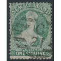 NEW ZEALAND - 1864 1/- green QV Chalon, perf. 12½:12½, large star watermark, used – SG # 124