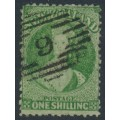 NEW ZEALAND - 1864 1/- yellow-green QV Chalon, perf. 12½:12½, large star watermark, used – SG # 125
