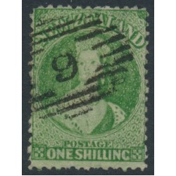 NEW ZEALAND - 1864 1/- green QV Chalon, perf. 12½, star watermark, used – SG # 124