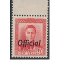 NEW ZEALAND - 1951 1½d scarlet KGVI definitive, o/p OFFICIAL, MNH – SG # O139