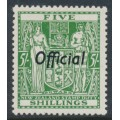 NEW ZEALAND - 1943 5/- green Fiscal Arms, o/p OFFICIAL, MH – SG # O133