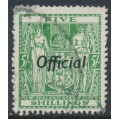 NEW ZEALAND - 1943 5/- green Fiscal Arms, o/p OFFICIAL, used – SG # O133
