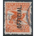 NEW ZEALAND - 1907 1/- orange-red Kea & Kaka, o/p OFFICIAL, used – SG # O65