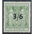 NEW ZEALAND - 1940 3/6 on 3/6 grey-green Arms Fiscal, single NZ star watermark, MH – SG # F187