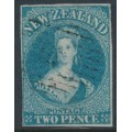 NEW ZEALAND - 1855 2d dull blue QV Chalon, imperforate, large star watermark, bluish paper, used – SG # 2
