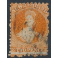 NEW ZEALAND - 1871 2d vermilion QV Chalon, perf. 10:12, large star watermark, used – SG # 130