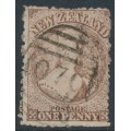 NEW ZEALAND - 1873 1d brown QV Chalon, perf. 12½:12½, large star watermark, used – SG # 132a