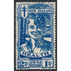 NEW ZEALAND - 1931 2d+1d deep blue Smiling Boy Health Stamp, MH – SG # 547