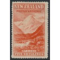 NEW ZEALAND - 1898 5/- vermilion Mount Cook, no watermark, perf. 15:15, MH – SG # 259
