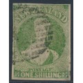 NEW ZEALAND - 1862 1/- yellow-green QV Chalon, imperforate, large star watermark, used – SG # 45
