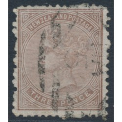 NEW ZEALAND - 1874 3d brown QV (1st Sideface), NZ star watermark, perf. 12½, used – SG # 154