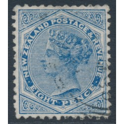 NEW ZEALAND - 1885 8d blue QV (2nd Sideface), NZ star watermark (6mm), perf. 12:11½, used – SG # 192